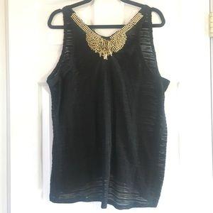 Maurice's Black Shadow Stripe Knit Embellish Tank